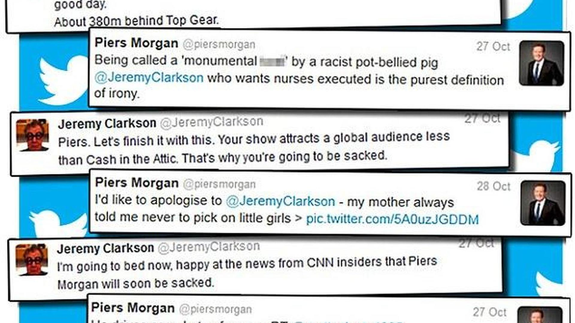 Jeremy Clarkson & Piers Morgan continue comical online feud on Twitter