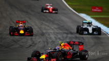 Daniel Ricciardo, Red Bull Racing RB12, Nico Rosberg, Mercedes AMG F1 W07 Hybrid and Max Verstappen, Red Bull Racing RB12