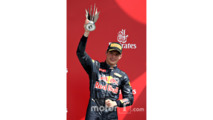 Max Verstappen, Red Bull Racing RB12 celebrates on the podium