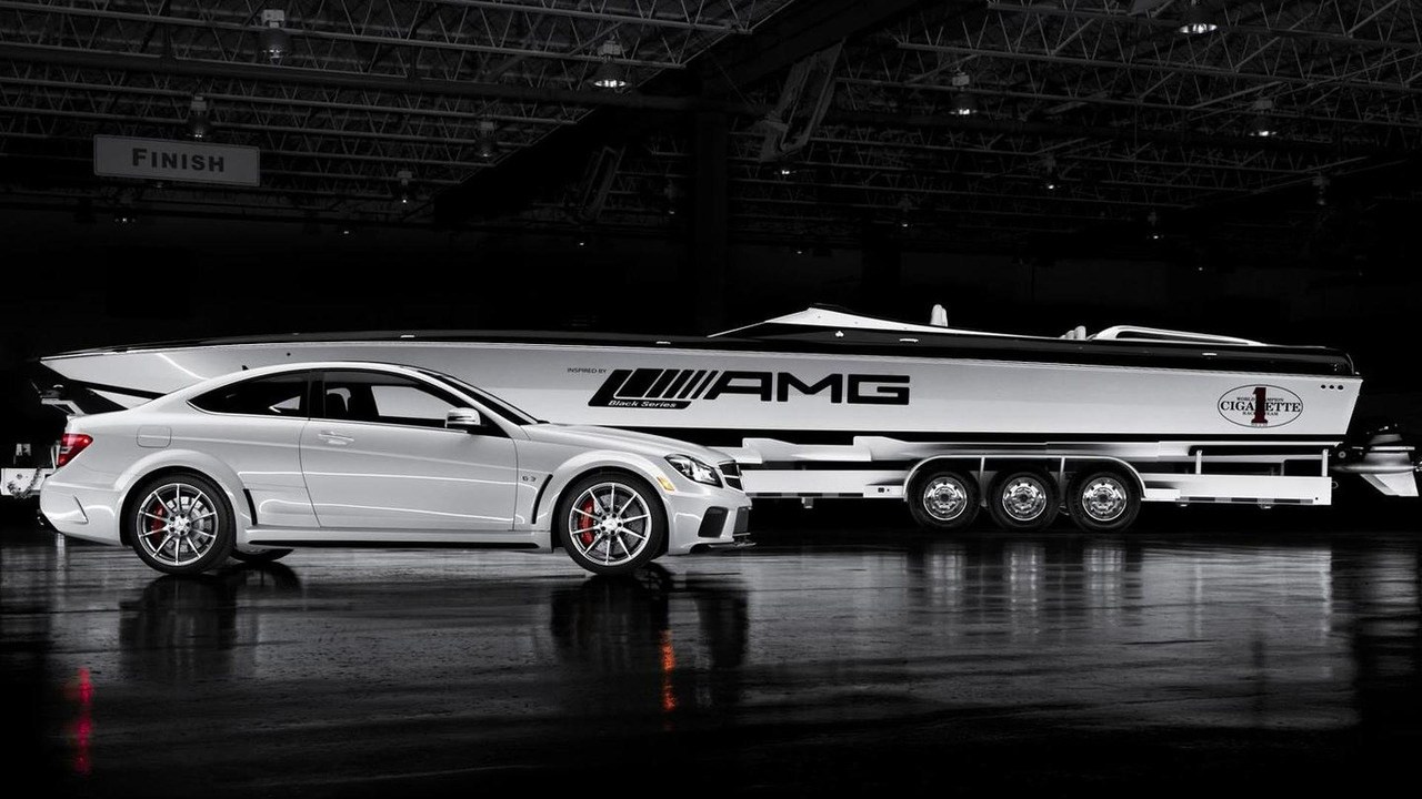 AMG Black Series 50' Marauder Cigarette boat with 2012 Mercedes C63 AMG Black Series car