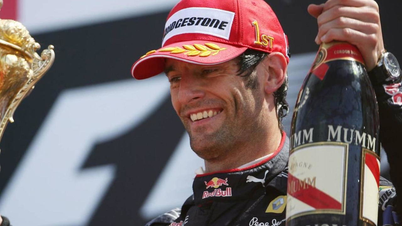 Mark Webber celebrates winning 2010 British Grand Prix at Silverstone