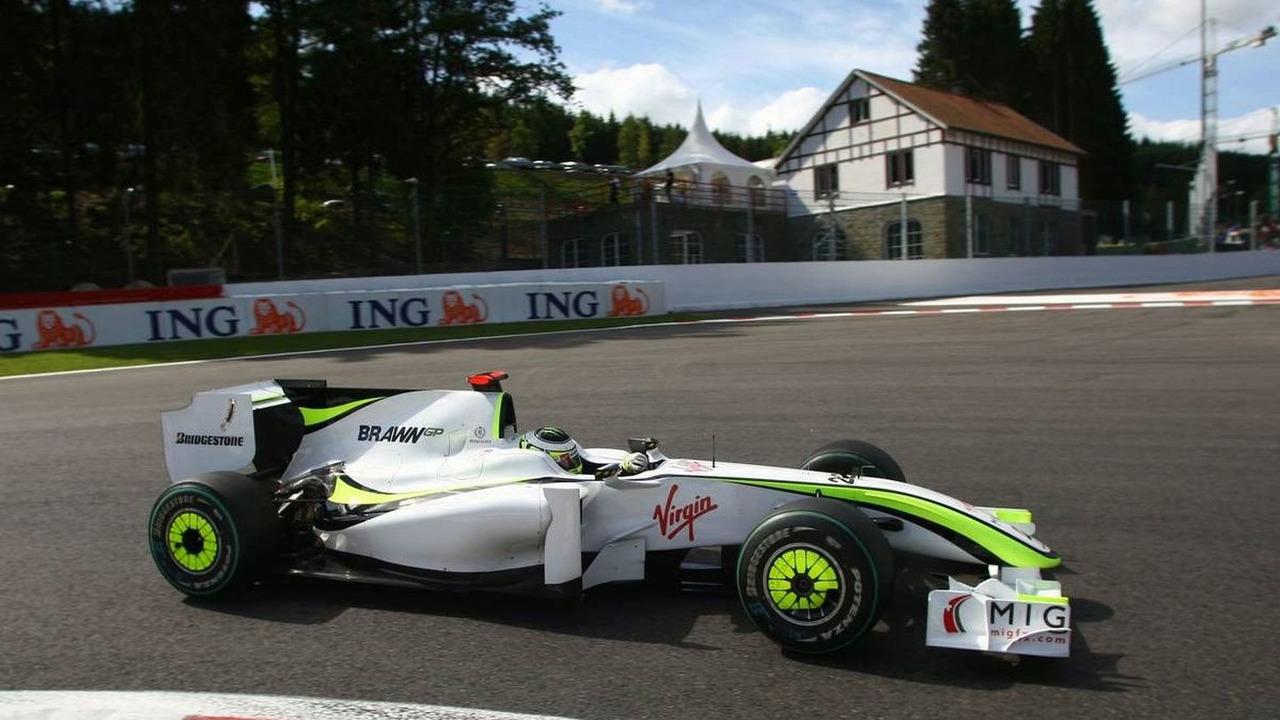 Jenson Button (GBR), BGP001 with shark fin engine cover, Belgian Grand Prix, Francorchamps, Belgium 28.08.2009