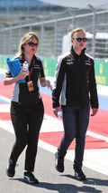 Nikita Mazepin, Sahara Force India F1 Team Development Driver walks the circuit with Bernadette Collins, Sahara Force India F1 Team Performance and Strategy Engineer