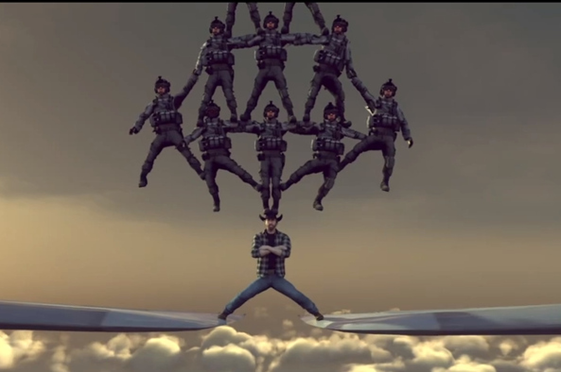 Chuck Norris One-Ups Volvo Ad by Splitting Between Two Jets! [video]