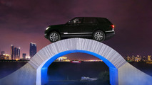 Range Rover drives over a paper bridge to celebrate its 45th anniversary