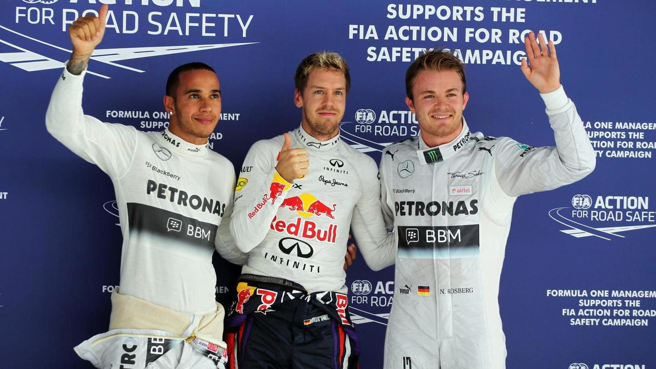 Nico Rosberg with Sebastian Vettel and Lewis Hamilton 26.10.2013 Indian Grand Prix