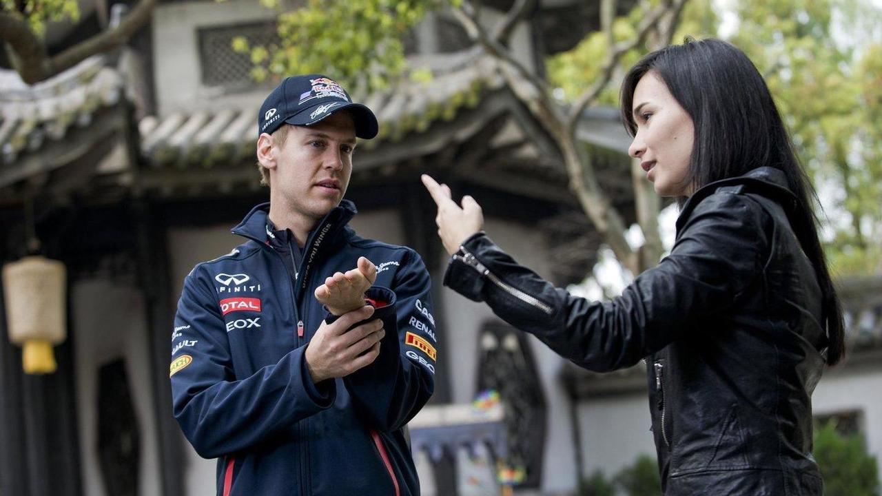 Sebastian Vettel, Celina Jade, Shanghai movie set 12.04.2012