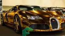 Gold chrome Bugatti Veyron owned by Flo Rida takes flashiness to a new level