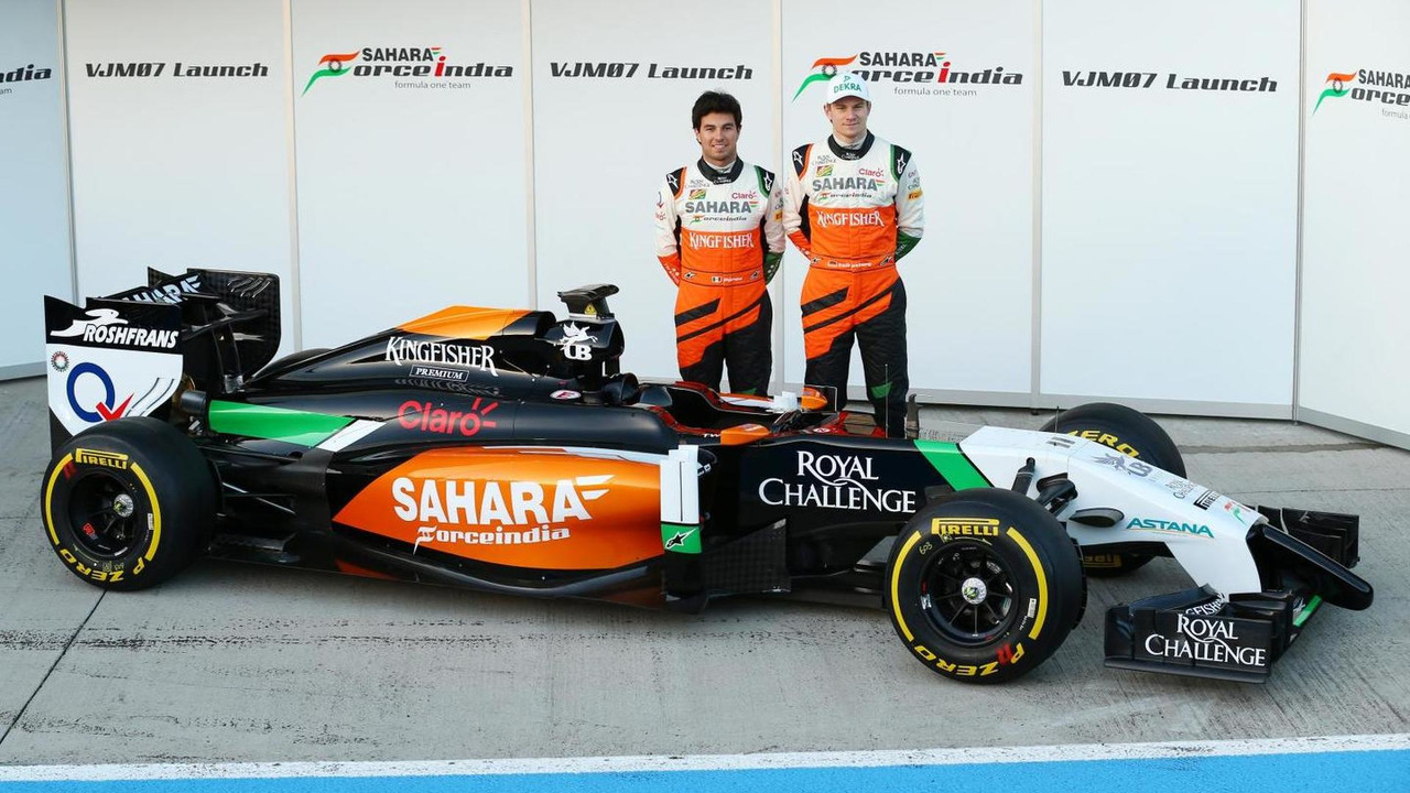 Sergio Perez and Nico Hulkenberg unveil Sahara Force India F1 VJM07  Formula One Testing Jerez Spain
