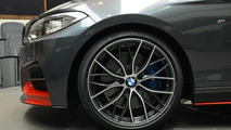 Abu Dhabi dealer displays BMW M235i with red M Performance parts