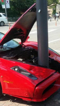Ferrari Enzo has a costly frontal encounter with a pole