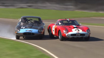 Jaguar E-Type near crash with $39-million Ferrari at Goodwood Revival