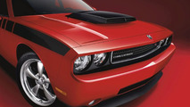 Dodge Challenger featuring a Mopar T/A Hood with black accented scoop