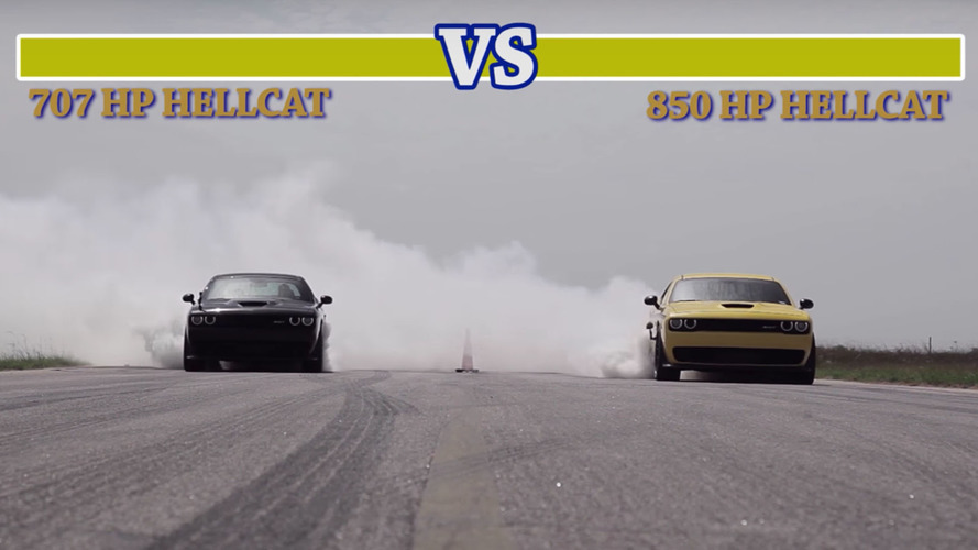 Hennessey-tuned Dodge Challenger Hellcat drag races a stock example