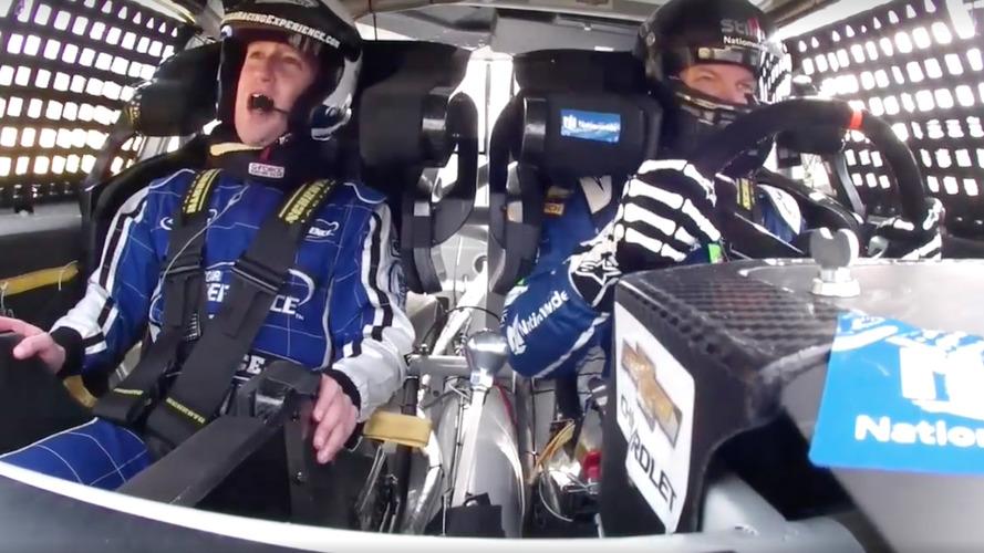 Mark Zuckerberg looks terrified riding shotgun with Dale Earnhardt Jr.