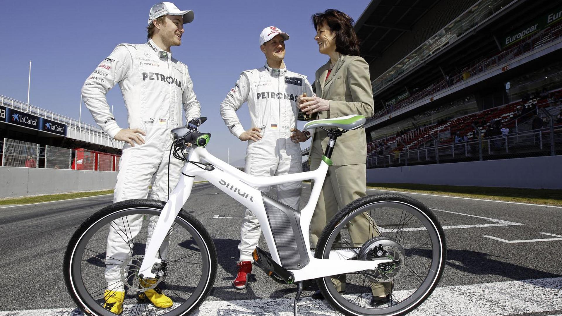Michael Schumacher and Nico Rosberg get the first Smart ebikes