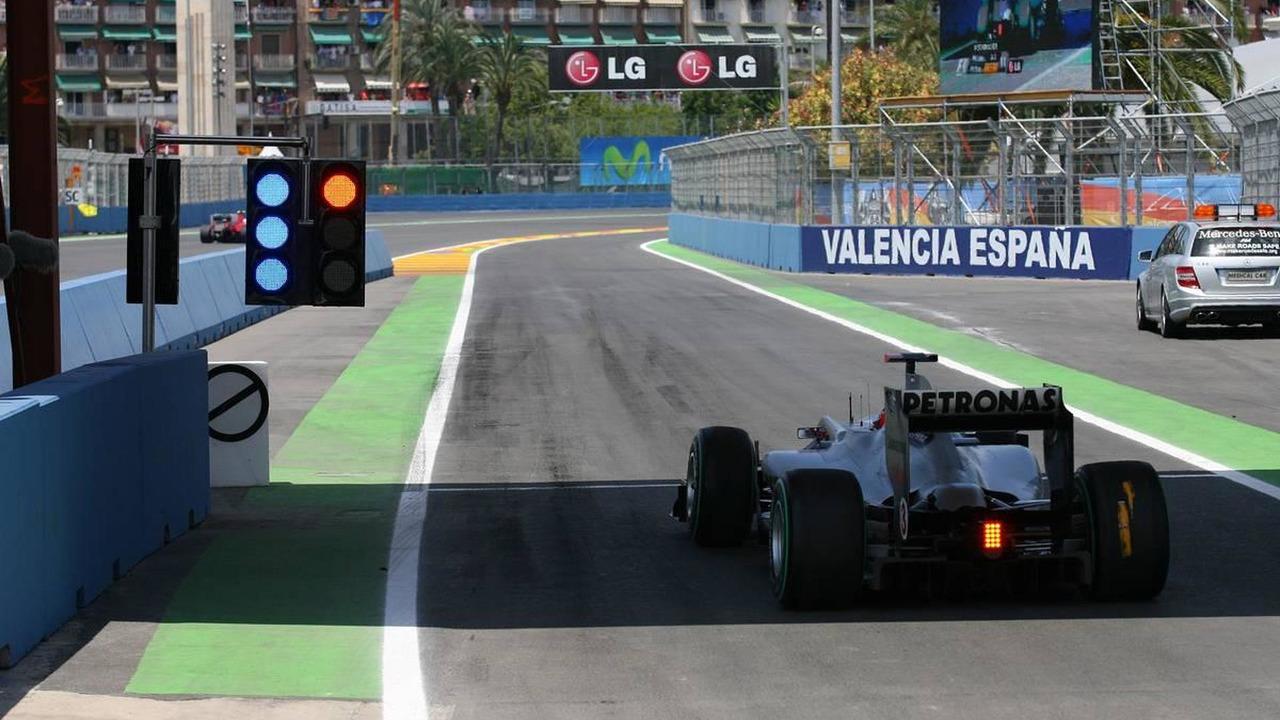 Michael Schumacher (GER), Mercedes GP Petronas awaits to leave the pit lane, European Grand Prix, Sunday Race, 27.06.2010 Valencia, Spain