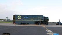 Renault truck jumps Lotus F1 car