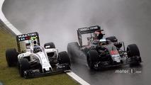(L to R): Valtteri Bottas, Williams FW38 and Fernando Alonso, McLaren MP4-31 battle for position