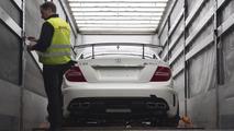 Mercedes C63 AMG Coupe Black Series loading at Frankfurt airport 03.03.2012