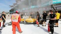 The burned car of Kevin Magnussen, Renault Sport F1 Team RS16