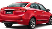 New Hyundai i20 rendered as a sedan