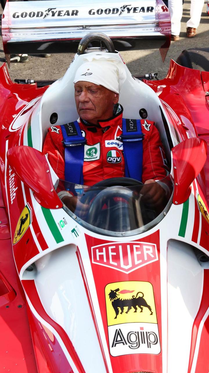 Niki Lauda (AUT) Mercedes Non-Executive Chairman is reunited with his Ferrari 312T2, 21.06.2014, Austrian Grand Prix, Spielberg / XPB
