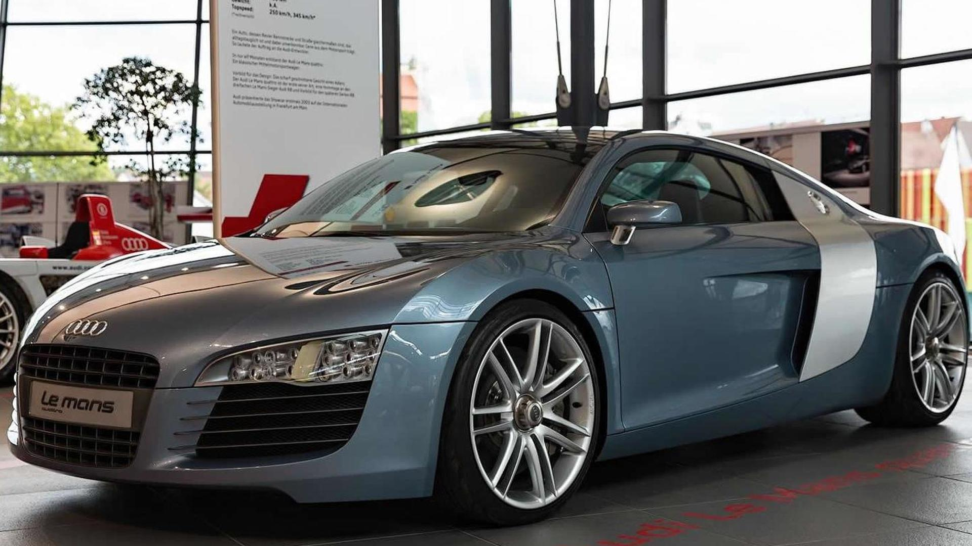 2003 audi le mans quattro concept displayed together with 2015 r8 v10 plus. Black Bedroom Furniture Sets. Home Design Ideas