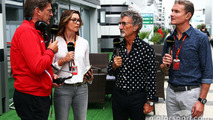 (L to R): Graeme Lowdon, Manor F1 Team Chief Executive Officer with Suzi Perry, BBC F1 Presenter; Eddie Jordan, BBC Television Pundit; and David Coulthard, Red Bull Racing and Scuderia Toro Advisor / BBC Television Commentator
