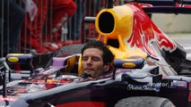 Mark Webber, Red Bull Racing RB9 arrives in parc ferme minus his helmet after finishing his last GP