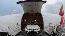 Mercedes C63 AMG Coupe Black Series unloading at Sydney airport 03.03.2012