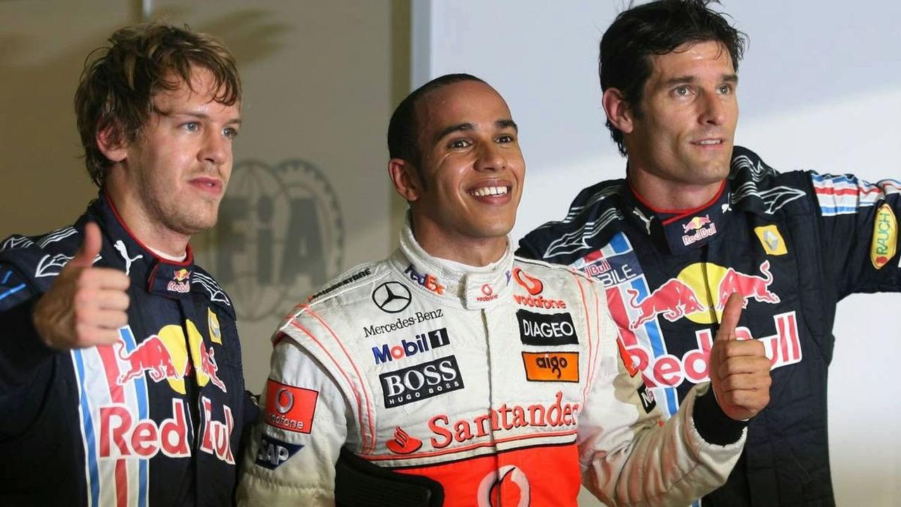 Sebastian Vettel (GER), Red Bull Racing; Lewis Hamilton (GBR), McLaren Mercedes and Mark Webber (AUS), Red Bull Racing, Abu Dhabi Grand Prix, Saturday Qualifying, 31.10.2009 Abu Dhabi, United Arab Emirates