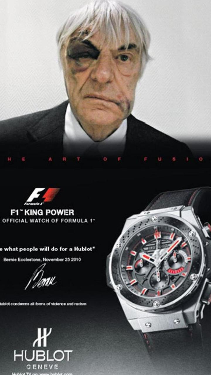 Bernie Ecclestone mugging Hublot advertisement, 600, 07.12.2010