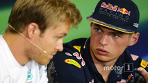 Nico Rosberg, Mercedes AMG F1 and Max Verstappen, Red Bull Racing in the FIA Press Conference