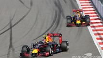 Daniil Kvyat, Red Bull Racing RB12 leads team mate Daniel Ricciardo, Red Bull Racing RB12
