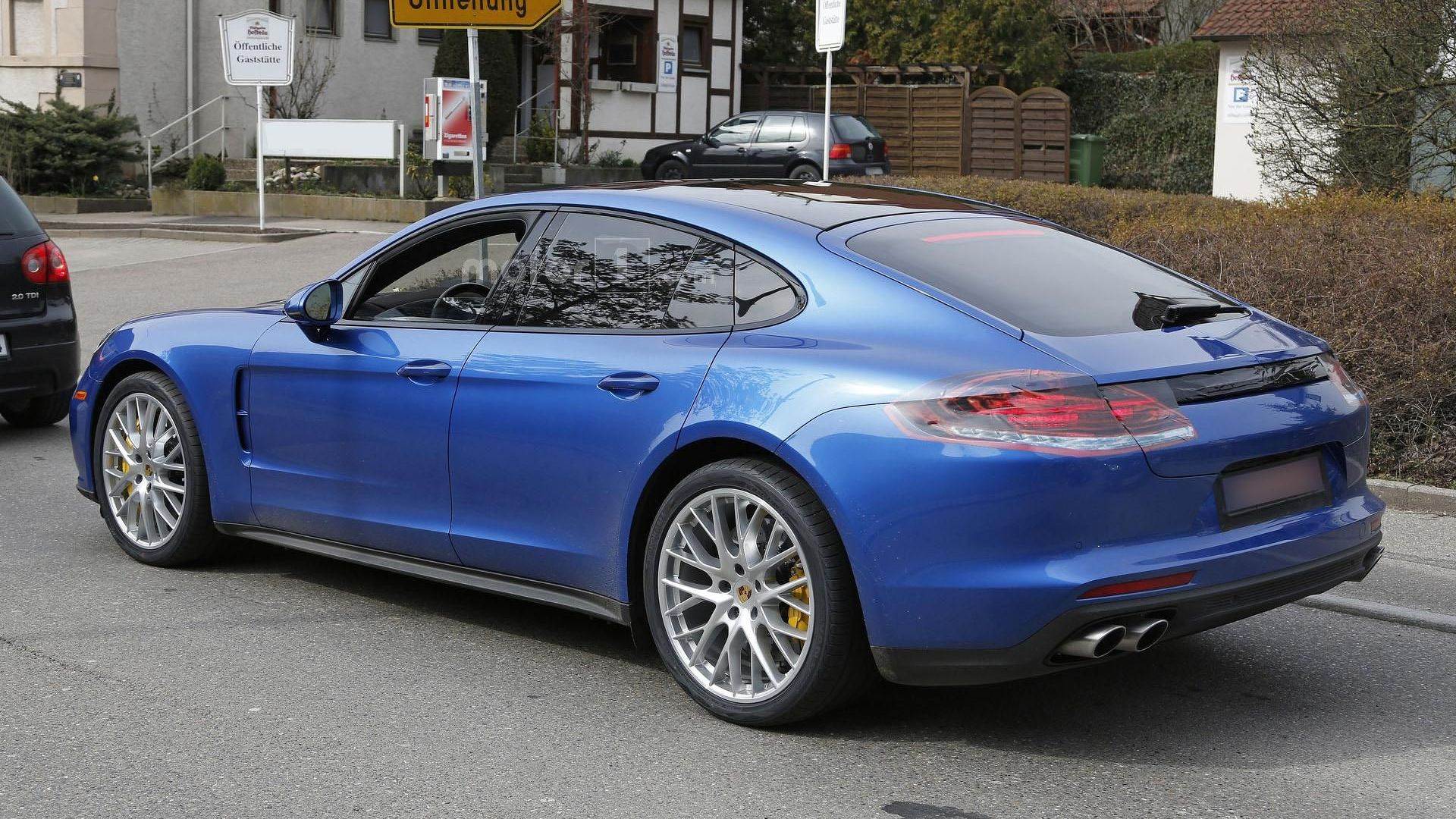 2017 porsche panamera turbo spied alongside the standard model. Black Bedroom Furniture Sets. Home Design Ideas