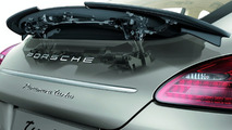 Porsche Panamera adaptive-motion rear spoiler with side sections moving up separately