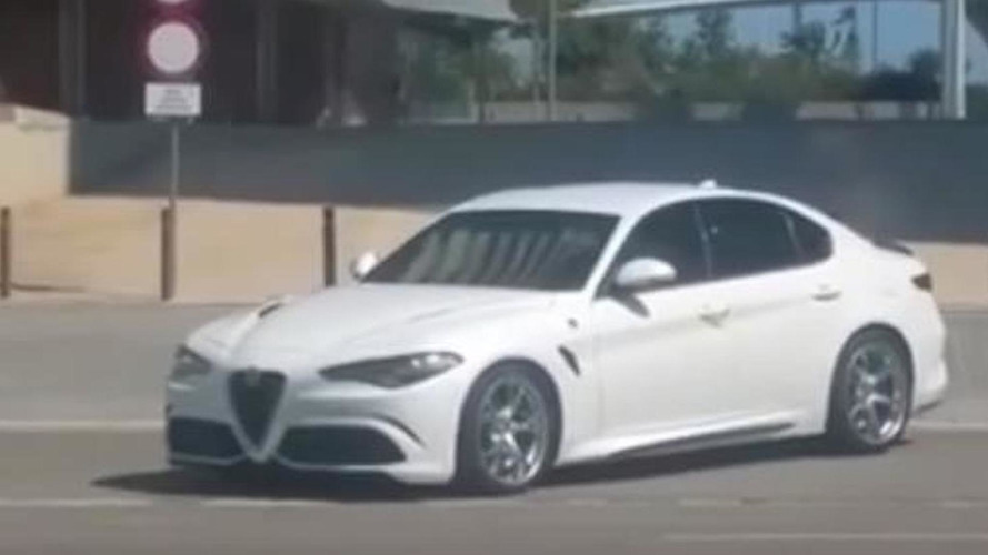 Alfa Romeo Giulia Quadrifoglio filmed on public roads