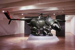 Artist Combines a Volkswagen Bug and Helicopter with Dinosaurs