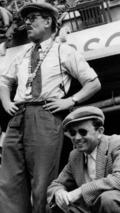 Ferry Porsche (right) with Fritz Huschke von Hanstein at the Le Mans 24-hour race in 1953.