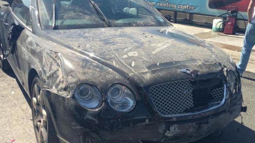 Bentley Continental GTC wrecked at car wash