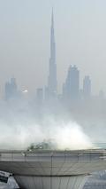 David Coultard performs F1 stunt at Burj Al Arab Helipad in Dubai 30.10.2013