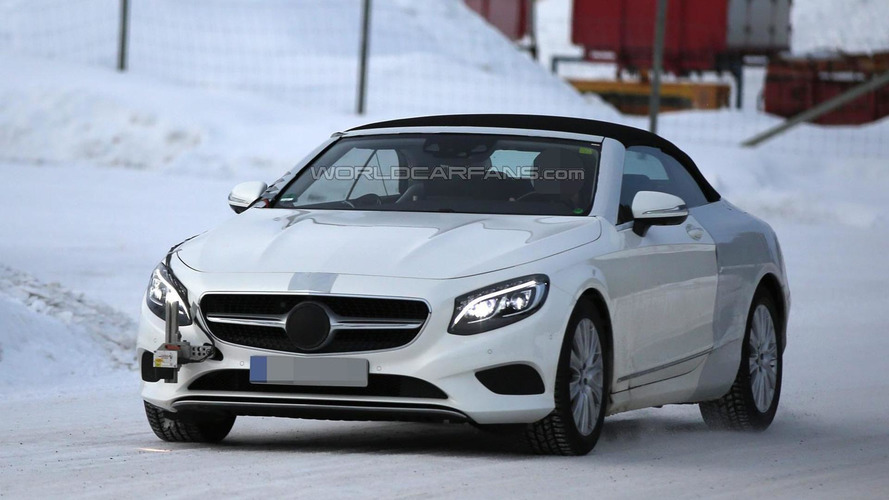 Mercedes-Benz S-Class Cabriolet spied testing in Scandinavia with light camo