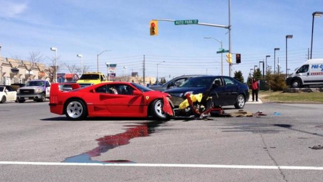 Ferrari F40 and Dodge Dart accident