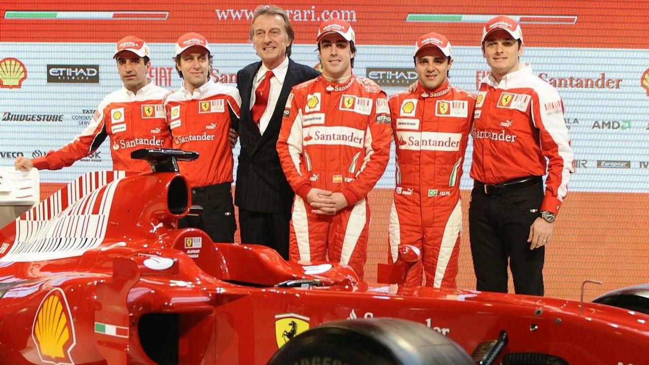 Luca di Montezemolo, Fernando Alonso, Felipe massa, Giancarlo Fisichella, Luca Badoer, Marc Gene, Ferrari F10 car launch, Maranello, Italy, 28.01.2010