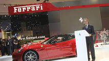 Luca di Montezemolo with Ferrari California at the Paris Motor Show 30.09.2010