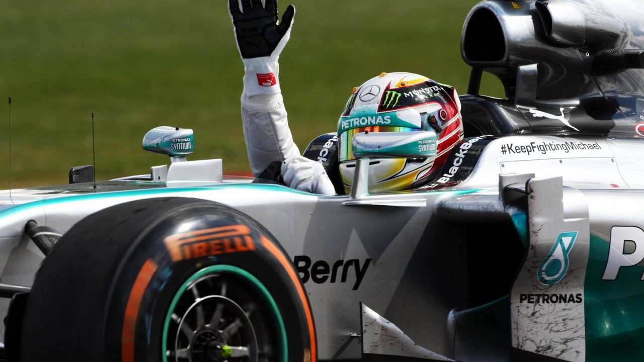 Race winner Lewis Hamilton (GBR) celebrates at the end of the race, 06.07.2014, British Grand Prix, Silverstone / XPB