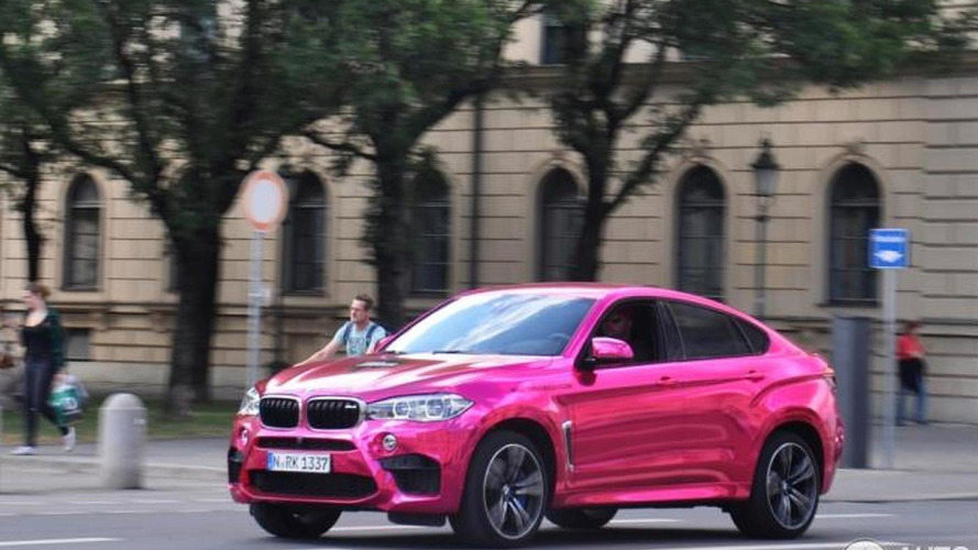 BMW X6 M with chrome pink wrap spotted in Munich