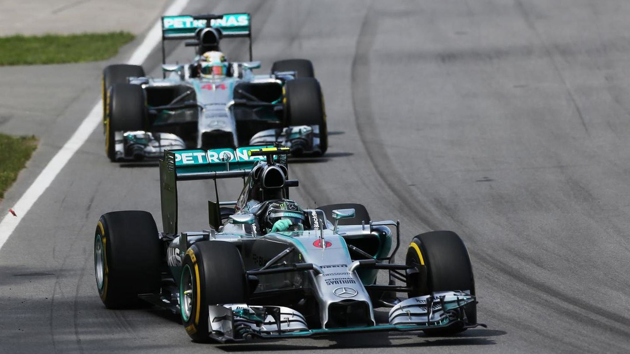 Nico Rosberg (GER) leads team mate Lewis Hamilton (GBR), 08.06.2014, Canadian Grand Prix, Montreal / XPB