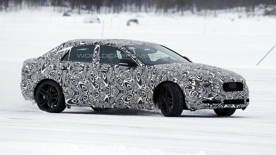 2015 Jaguar XE spied wearing a production body for the first time
